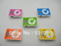 5pcs/lot Hotsell Cartoon Gift MP3 player, Beautiful 10 Colors Plastic Music Player With Card Slot Free Shipping
