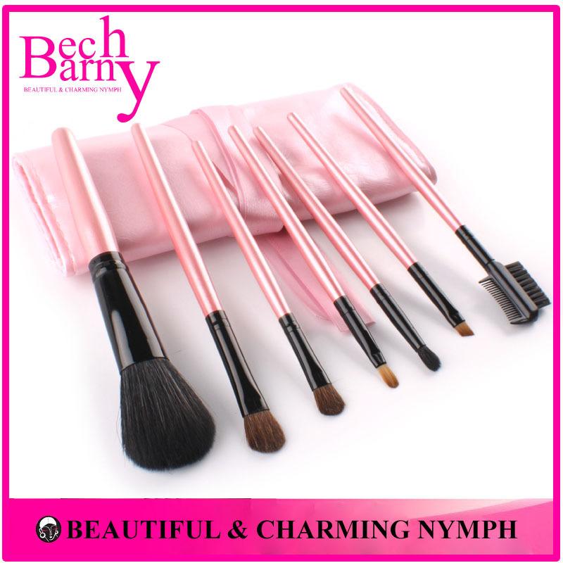 7 pz peli portatile make- up spazzola cosmetica kit trucco pennelli con il rosa borsa pu