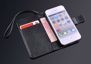 Novelty Luxury Real Cowhide Genuine Leather Case for iPhone 4 4S Original FASHION Brand Wallet Case with Belt, Free Shipping