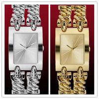 2015 Christmas gift women waterproof rectangle fashion brand watch with logo bracelet steel lovers lady cowboy catenary watch