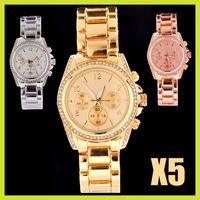 New 2013 Luxury Fashion Gold Rose Gold Silver Steel Brand Crystal Quartz Business dress Wrist Watch for Man men Women with Logo