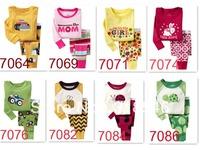 FREE SHIPPING 30sets/ lot 100% cotton  baby wear kids long sleeve pajamas /sleepwear suit t-shirt+pant