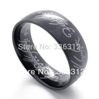 RA-120689 Unisex Mens Black Tone Stainless Steel Ring Lord of the Rings U.S. szie 5 6 7 8 9 10 11 12 13 14 15 16