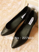 SALE !!!! New Arrival Crazy 100% Genuine Leather Rivets Black Flats Shoes Slip On Flats Free Shipping