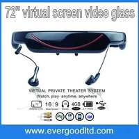 Fast Shipping Wireless Video Glasses Mobile Theater with 72inch 16:9 Wide Screen Bulit-in 4GB Memory