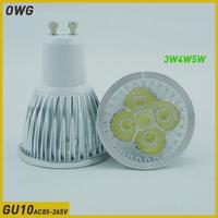 (5pieces/lot)LED Bulbs GU10 3W4W5W AC85-265V led  led spotlight High power White/Warm white High Brightness Free Shipping