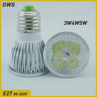 Wholesale(5pieces/lot)  LED light E27 3W 4W 5W  AC85-265V LED Bulb Light Spot Light Lamp White/Warm white Free Shipping