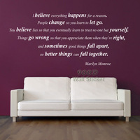 """MARILYN MONROE inspiration Quote wall sticker, DIY decoration removable Vinyl Wall Decal Sticker home Decor, - """" I Believe..."""""""