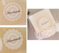 400 pcs/lot, Wholesale transparent lace handmade stickers adhesive labels custom sticker