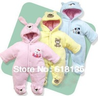Retails(0-12M)Baby Infant Winter Rompers,3-Layers Cotton Padded hoodie footie Jumpsuits For baby WinterThick Warm baby Overalls
