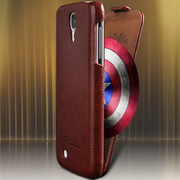Luxury Retro PU Leather Crazy Horse Full Case For Samsung Galaxy S4 S IV i9500 Flip Cover Open Up And Down Fashion LOGO RCD0055