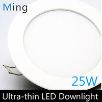 Ultra thin design 25W LED ceiling recessed downlight / round panel light, 280mm hole, 20pc/lot free shipping