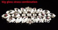 free shipping 7*18cm flower strip maeyes crystal glass rhinestone applique silver evening dress waist minkcoat sewing decoration