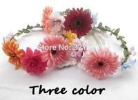 10 x Wedding gerbera flower girl crown silk daisy headband bridal wreath bohemia floral hair wear accessories HZW017