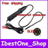 Free shipping!7mm Inspection Camera Endoscope USB Tube Snake Waterproof MINI Camera With 6LED ,Vehicle Maintenance Endoscope