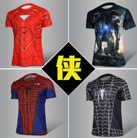 Spiderman movie star quality short-sleeve men's clothing, Iron Man, moisture wicking breathable fade male t-shirt size s-xxxl
