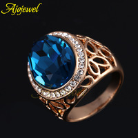 Free shipping big size crystal finger ring! 18k  gold plated gothic ring for men