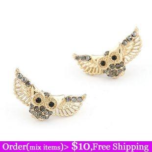 Дизайнер! новый корейский мода золото летать милый сова крылья с черный горный хрусталь серьги год сбора винограда прекрасный сова