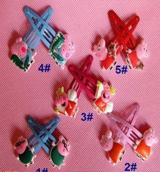 Peppa Pig Hairpin Clip Hair Ornament BB Clamp Clip Baby Hair Clip