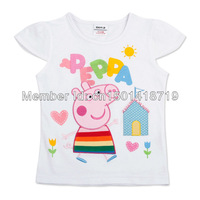 FREE SHIPPING K4076# 18m/6y NOVA Kids wear child clothing printed cartoon peppa pig hot sale girls short sleeve t-shirt