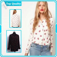 Womens' Hot Red Lip Print Chiffon Blouse T Shirt Slim Brand Design FREE SHIPPING
