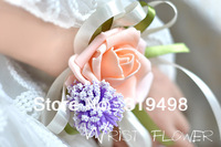 Free shipping wholesale(12 pcs/lot) foam corsage Wrist Flower Bridesmaid Accessories in Wedding Decoration 7 colours can choose