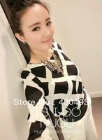 Free shipping Women's print long-sleeve chiffon top chromophous basic shirt chiffon shirt 6 fancy 79p