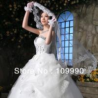 Long trailing bridal veil wedding accessories lace soft short white women laciness long veil 2013 new customizable headdress