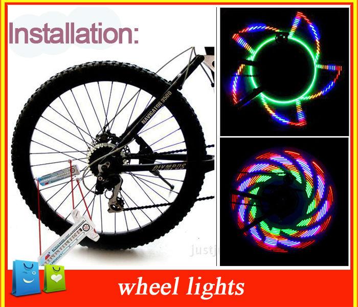 4pcs/lot 16 Led 30 mode Cycling Bike Bicycle Motorcycle Tire Wheel Valve colorful Flashing Spoke Light Free shipping(China (Mainland))