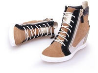 Newly styler women's wedge sneakers genuine leather wedge boots Casual shoes free shipping