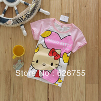 Wholesale 1 lot= 5 pieces  PROMOTION  2014 cartoon girl clothing kids clothes tee Tshirt summer short sleeve  hello kitty KT