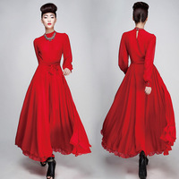 New Full Solid Red Casual Long Dress Slim Vintage Women Chiffon Maxi Dresses With Belt For Spring Summer Autumn Winter