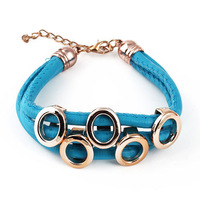 5 / pack 2013 New Arrived Fashion Alloy Circle Shape And Leather Bicyclic gold  Bracelets For Women ,Free shipping