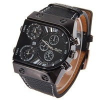 oulm radium movement male classic watches black supracrustal strap watchband Relogio
