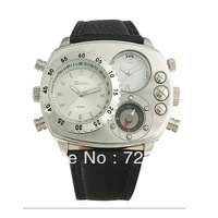 New wholesale retail Oulm double movement Luxury watches male watch fashion compass watches genuine leather Relogio