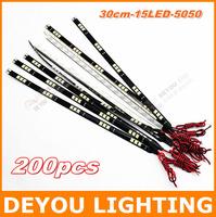 200pcs/lot 30cm 15 LED 5050LED  Flexible LED Strip Light bar  waterproof  LED DRL  Car Lighting  free shipping