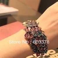 New hot 2013 fashion jewelry charm vintage imitation diamond crystal peacock bangles & bracelet 0444 for women Free shipping