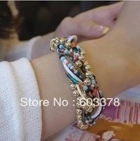 New fashion jewelry bohemia fresh blue exquisite handmade beads multi-layer bracelet 7564 for women Free shipping