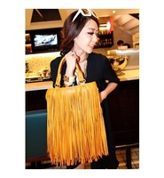 Women's fashion Punk Fringe bag tassel bag vintage rivet bag female bags big bags handbag black