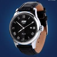 Classical SKMEI Diamond Crystal Silver Case Elegant All Black Men Quartz Wrist Gift Dress Men's Leather Strap Watch Hours 3 colo