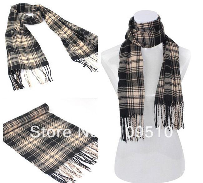 Classic checked style, fake cashmere, Gentlemen's winter&fall plaid pattern warm wool knitted long pashmina tassels muffler(China (Mainland))