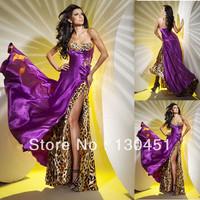 beautiful sweetheart leopard print evening dresses purple satin sequins bra prom dress for girl graduation gowns