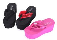 New fashion 2014  women summer shoes high heels flip flops Glitter Platform sandals Casual Wedges beach slippers