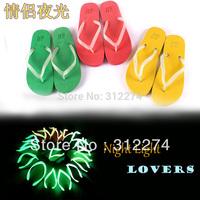 Summer beach flip flops luminous lovers flat sandals slip-resistant night light flip slippers