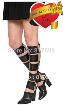 Brand  Design Gladiator  Boots Genuine Leather knee high Boots Summer High Heel Women Boots