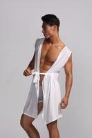 Men sexy bathrobe with ice silk hot sale in 2013