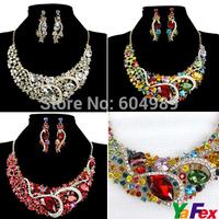 Free Shipping Fashion Party Crystal Rhinestone Earring Necklace Bridal Bridesmaid Red Jewelry Wedding Set WA241