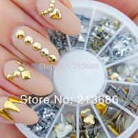 120Pcs Fashion Metal Gold Silver Nail Art Decoration Rhinestone Tips Metallic Studs 10912
