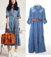 2014 Spring Summer New Women's Bohemia Denim Maxi Dress Turn-down Collar Long-sleeve A-line Dress Plus Size S/M/L Denim Blue Top