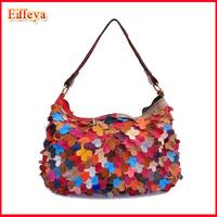 2014 Girls fashion handbag cross-body bag  personality petals patchwork sheepskin small bag A682